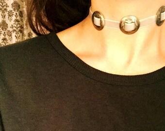 Concho Choker// Triple Concho Choker// Antique Silver Concho Choker// Southwestern Jewelry// Beige Choker// Velvet Choker// Thin Choker