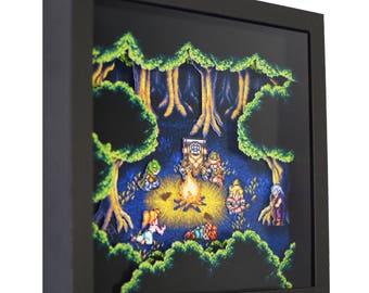 "Chrono Trigger (Fiona's Forest) - 3D Shadow Box (9"" x 9"")"