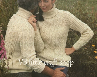 His and her aran sweater knitting pattern. Instant PDF download!