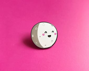 Happy Moon Lapel Pin | cute enamel pin hat badge space