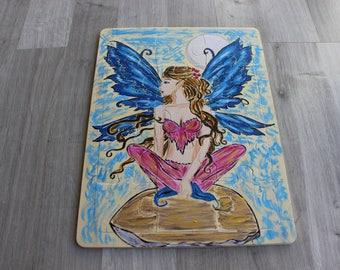 hand painted fairy on mushroom wooden puzzle