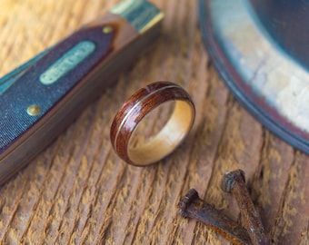 Mens Wedding band made from Birds eye maple, Koa and Sterling silver, Mens engagement ring, Mens promise ring