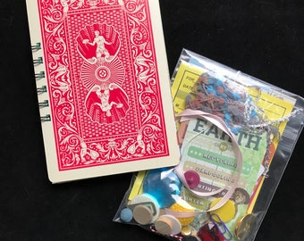 Junk journal, made with giant playing card covers -  also comes with a bag of fun stuff for embellishment