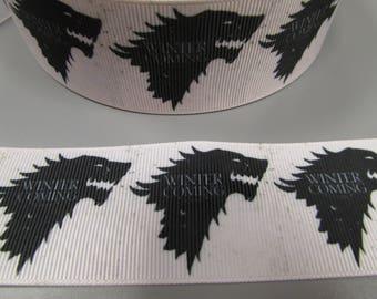 Game of Thrones Winter is Coming 3.7cm  Grosgrain Ribbon x 1 metre