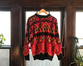 Vintage Gitano Sportswear Orange and Red Acrylic Made in USA Sweater