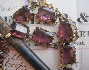 purple Statement Necklace, Anna Wintour, Amethyst necklace, Georgian, collet,  Downtown Abbey.