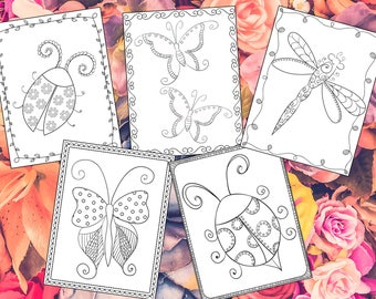 Elegant Insects Coloring Pages - The Crayon Crowd, printable, party, party favors, Coloring book, Sheets, kids, pdf, butterflies, bugs