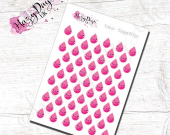 Kawaii Blood Drops - Cute Kawaii Planner Stickers for blood tests or period tracking, ECLP, Happy Planner, TN, Personal Planner etc