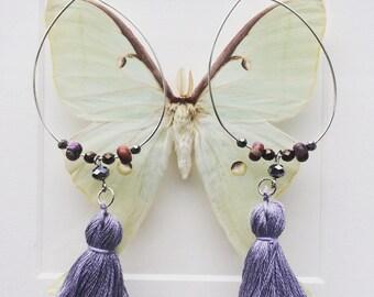 Lavender tassel and jasper hoop earrings