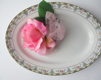 Vintage Noritake Blue Pink Floral Serving Platter