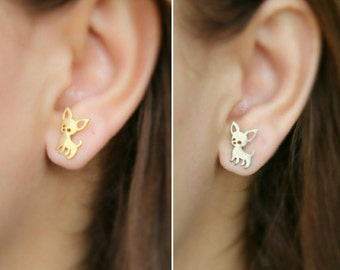 CHIHUAHUA EARRING 24k, dog breeds, puppies, pet lovers, earrings for women, unique jewelry, stud earrings, dog lovers, hush puppies, puppies