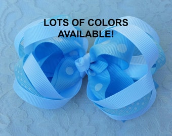 Small Stacked Hair Bow for Little Gilrls in lots of colors!