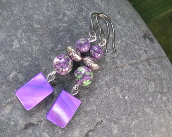Purple Pearl and Picasso Jasper earrings