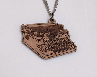Laser cut wood pendant necklace, vintage antique typewriter with stainless steel chain