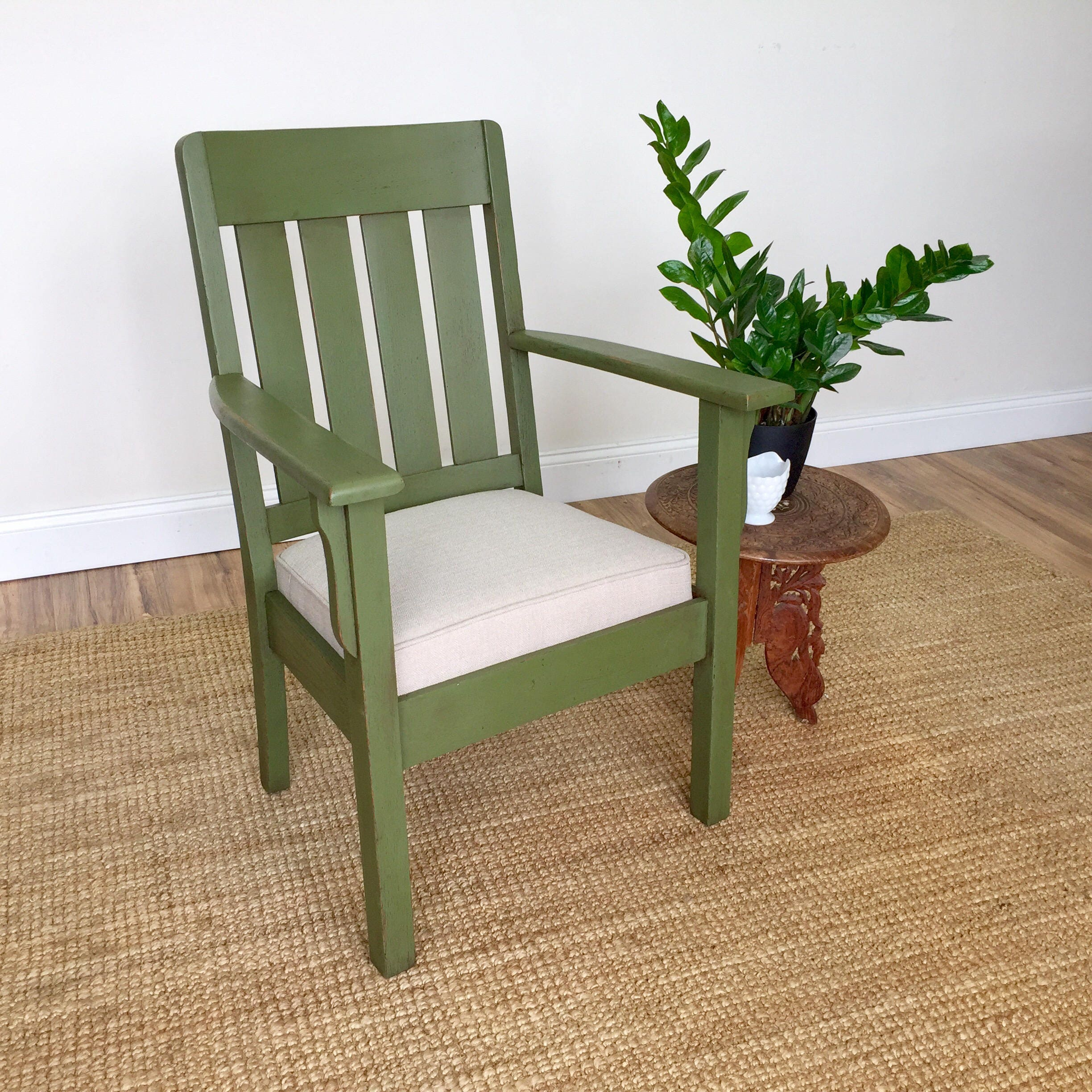 craftman furniture. Green Armchair - Mission Furniture Vintage Office Chair Occasional Arts And Crafts Style Antique Wooden Chair, Craftsman Craftman