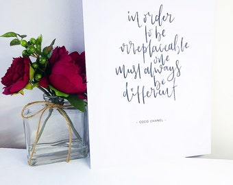 Coco Chanel quote, Irreplaceable - A4 Print, Framed or Unframed