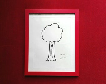 Original framed ink drawing cartoon tree sketch minimalist art nature illustration black and white - Tree Song by Robert McConvey