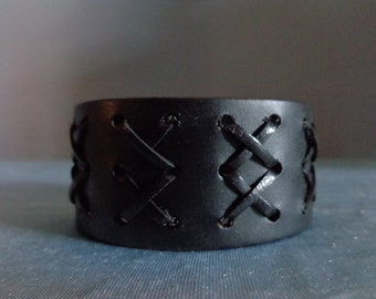 Leather Cuff by Artrix Leather and Fine art - Double X Leather Cuff