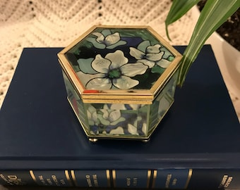 Vintage Hexagon Glass & Floral Jewelry Box