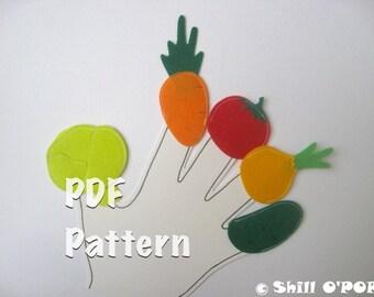 Vegetables and Fruits Finger Puppets Felt Toy PDF Pattern