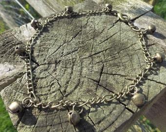 Gypsy Bells Anklet - Antique Bronze Chain Ankle Bracelet With Little Bells - Belly Dancer - Single Or Pair Of Anklets - Boho - Tribal