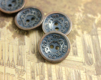 Special Metal Buttons - Steel Blue Rendering Retro Copper buttons, Dish Shaped, Relief Floral Pattern Inside.  0.59 inch, 10 pcs