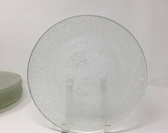 Set 7 Indiana Glass Crystal Ice Dinner Plates Set Glass Dishes Glass Dinner Set Clear Glass Plates Modern Dinnerware Vintage Plates & Kitchen Dinner Set Modern Plates Modern Dinnerware