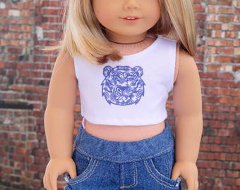 American Made Doll Clothes | Navy Blue Paisley Tiger CROP TANK TOP for 18 inch doll