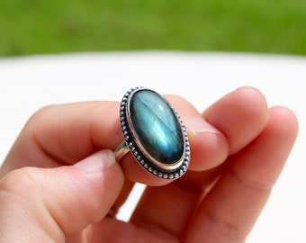 Labradorite Ring; Sterling Silver; Natural Gemstone, Boho Ring Size 5 3/4
