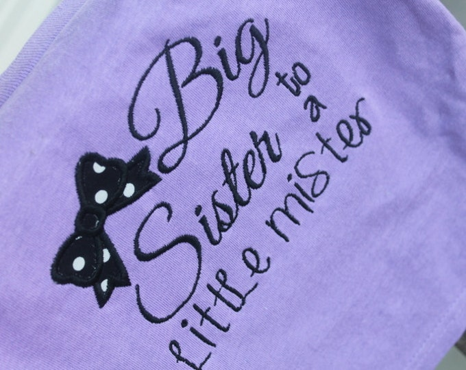 Big Sister To A Little Mister Little Brother Embroidered Monogrammed Customized Toddler Youth Short Sleeve Lavender TShirt Baby Announcement