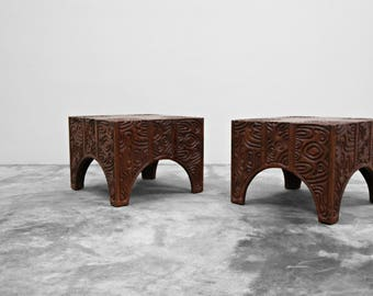 Pair of Mid Century Carved Wood Panelcarve Side Tables by Sherrill Broudy Witco