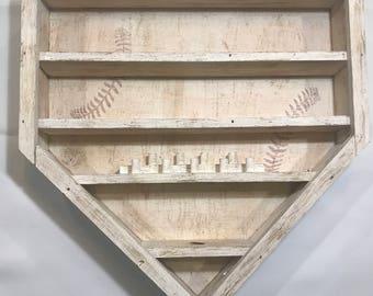 Baseball Display, Baseball Shelf, Baseball Display Shelf, Home Plate Baseball Shelf, Home Plate Shadow Box, Baseball Shadow Box