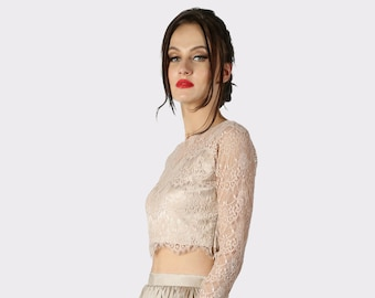 Bridal Separates , Lace top , Camisole , Bridesmaids top , Tulle skirt , Wedding Separate , Lace Top ,Crop top dress / Wedding Dress