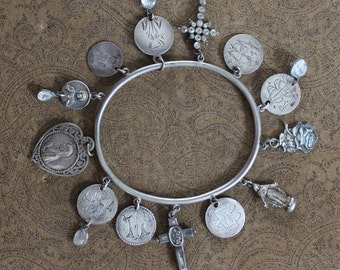 Antique Victorian 1800's Love Token Bangle w/7 Engraved Love Tokens,Tiny Antique French Reliquary Cross,Mother Mary,Antique Paste Cross
