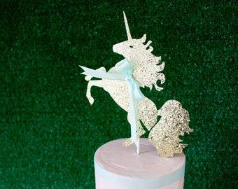 Unicorn Cake Topper - Rainbow Party - Baby Shower Cake Topper - Gold Glitter Cake Topper - Cake Topper - First Birthday Cake Topper -Unicorn