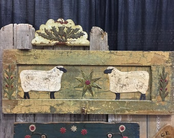Huge Two Sheep Star and Vines on Amazing Old Chippy Paint Cupboard Door Panel