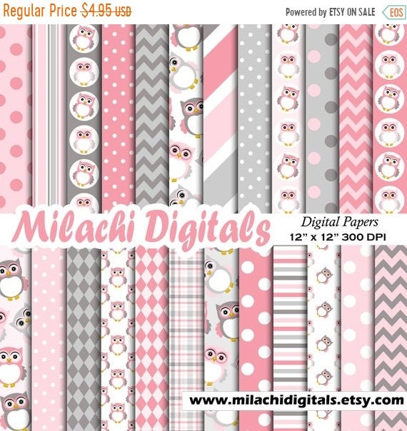50 Off Sale Owls Digital Paper Pink And Gray Scrapbook Papers Owl