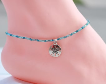 Dainty bead anklet, gift for her, blue, Mothers day gift