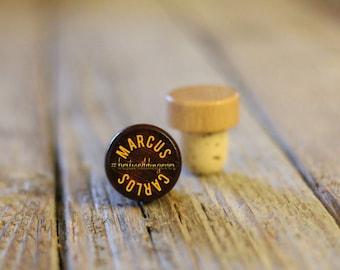 Single Personalized Custom Wine Stopper, Laser Engraved Cork Bottle Topper, Customized Rustic Wedding Favor, Reusable --WS-DG-MarcusCarlos