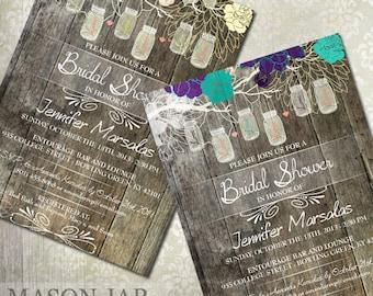 Rustic Bridal Shower Invitations, Mason Jar Bridal Shower Invitations, Country Rustic Bridal Shower, Spring Bridal Shower Printed or Digital