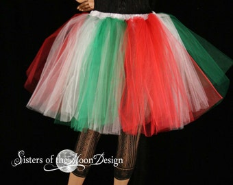 Adult tutu skirt romance christmas elf white green red costume Italian dance holiday party celebrate -You Choose Size - Sisters of the Moon