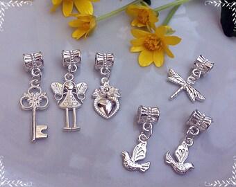 6 pcs of pendants, Pandora Style, Bracelet pendants, Bright pendants, Set of pendants, Silver color, Silver pendants, Handmade pendants,