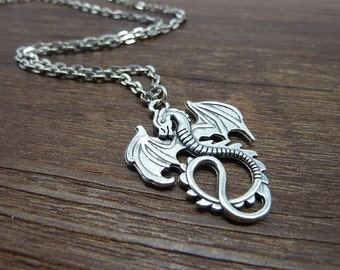 Promotion-1PCS Antique Silver Dragon Necklace / Silver Dragon Necklace / Fantasy Dragon Necklace / Fantasy Jewelry / Dragon Jewelry CN7000-2
