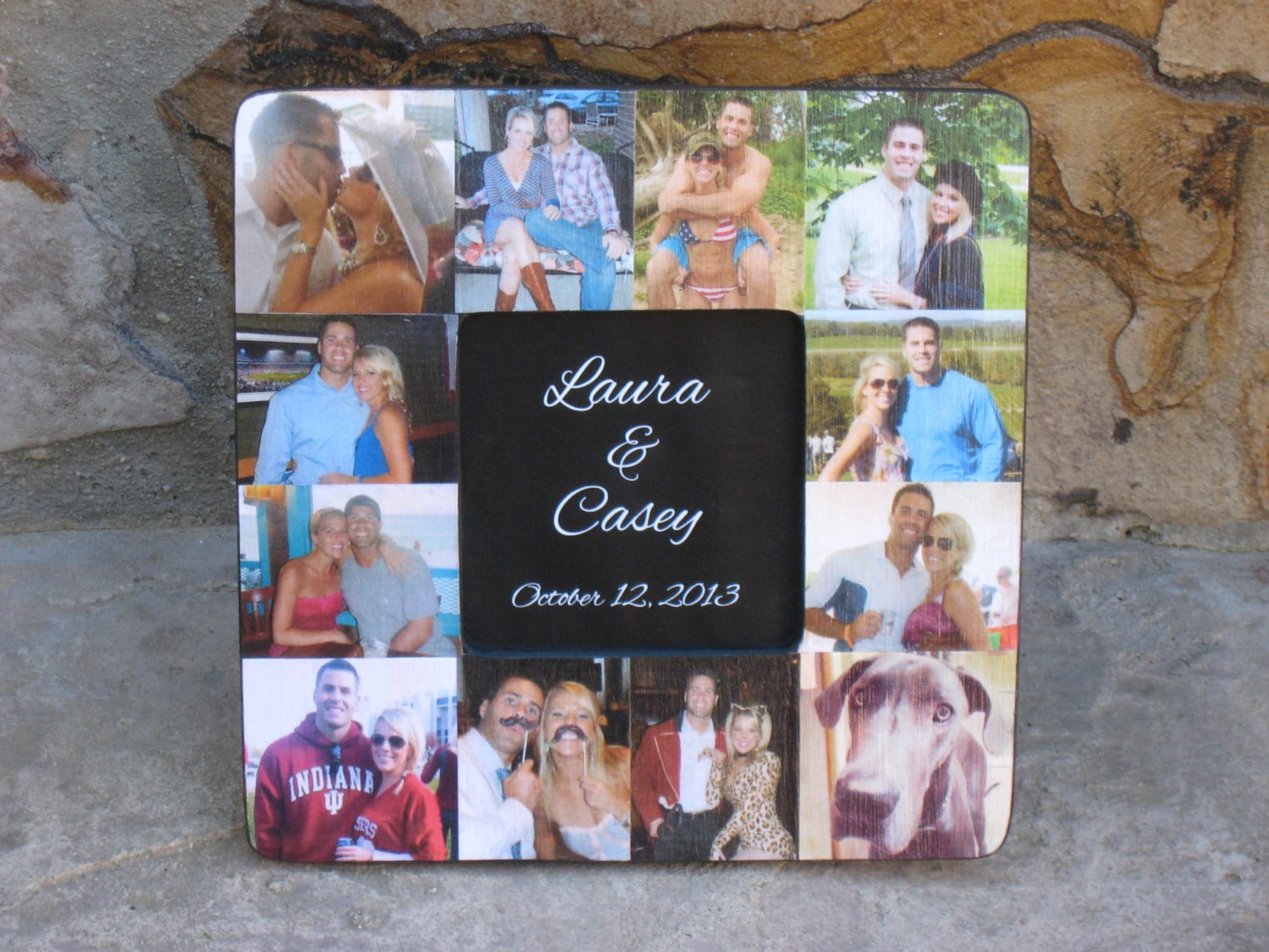 Unique Engagement Gift Photo Collage Picture Frame