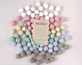 Felt Pom-Poms // Swan Lake // White Felt Balls, Wool Felt Poms, DIY Garland Kit, Pastel Felt Balls, Felt Beads, Baby Shower Nursery Decor
