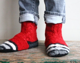 Children's Recycled  Felted Wool /Slippers 12-12.5, SALE