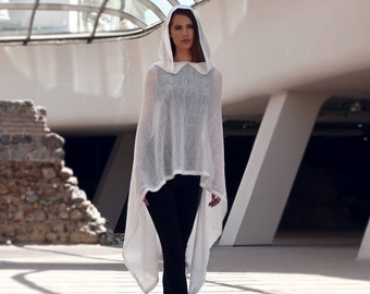 Cloak, Knitted poncho, Plus size poncho, Wool poncho, Asymmetrical poncho, Poncho, Lightweight poncho, Markiiza, Hooded cloak
