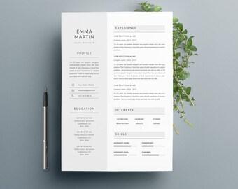 """Modèle de CV """"EMMA"""" moderne & Lettre de motivation   4 Pages   Pour Ms Word   Guide d'utilisation Français + Anglais   Professionnel  """