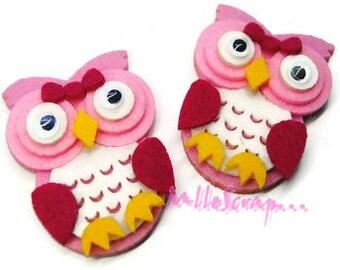 Set of 2 pink felt OWL embellishment scrapbooking (ref.310). *.