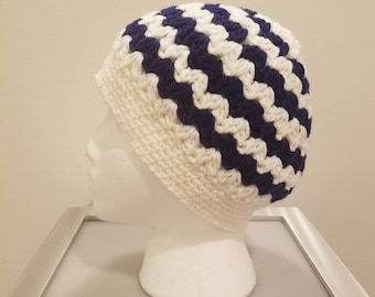 Messy Bun Hat, Pony Tail Hat, Crochet Messy Bun Beanie, Navy Blue and White Beanie